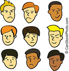 Cartoon-junge Männergesichter
