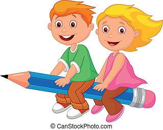 Cartoon-Junge und Mädchen fliegen auf einem Pe