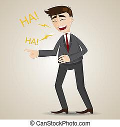 Cartoon lachender Geschäftsmann.