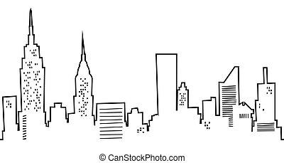 Cartoon New York Skyline