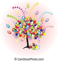 Cartoon-Partybaum mit Paloons, Geschenken, Kisten für ein glückliches Event und Urlaub