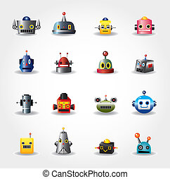 Cartoon-Roboter-Gesicht, Web-Icon-Sektor