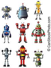 Cartoon-Roboter-Ikone-Set