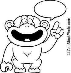 Cartoon Schimpanse spricht.