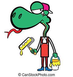 Cartoon Schlangenmaler mit einem Pinsel