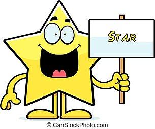 Cartoon Star-Schild.