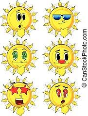 Cartoon Sun denkt.
