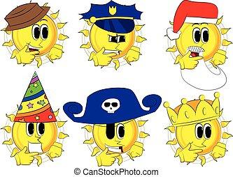 Cartoon Sun denkt oder zeigt auf seine linke Seite.