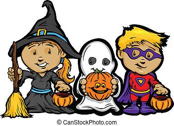 Cartoon-Vektor-Bilder eines glücklichen Halloween-Kindermädchens mit Trick oder Süßigkeiten