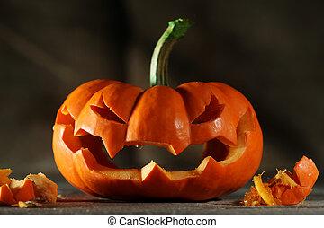 Carved Halloween Jack O'Lantern.