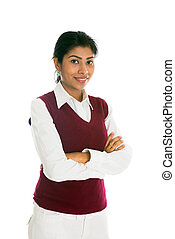 Casual junge indische Frau Portrait isoliert auf weiß.