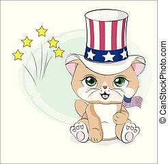 Cat glücklich Unabhängigkeitstag Amerika.