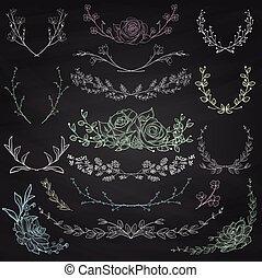 Chalk Zeichnen Kräuter, Pflanzen und Blumen. Vector Illustration