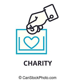 Charity Thin Line Icon, Zeichen, Symbol, Illustation, lineares Konzept, Vektor.