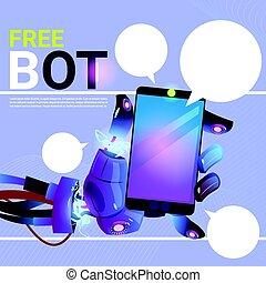 Chat bot Hände mit Handy Smartphone, Roboter virtuelle Unterstützung von Website oder mobile Anwendungen, künstliche Intelligenz Konzept.