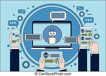 Chat-Bot-Konzept Hand halten Laptop, Tablet und Smartphone-Chatting mit Chatter Online Support-Technologie Konzept.