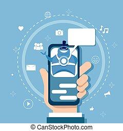 Chatbot-Konzept unterstützt Robotertechnologie digitale Chat-Bot-Anwendung auf Smartphone.
