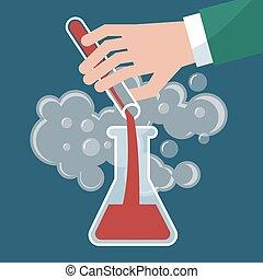 chemie, chemische , versuch, vektor, abbildung