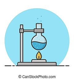 chemie, gefüllt, chemische , flask., design, reaktion, messen, versuch, vektor, pr�fung, laboratory., ikone