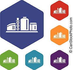 Chemiefabrik-Ikone, schlichter Stil