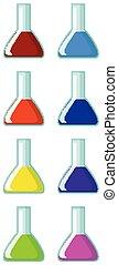 chemikalien, gefüllt, verschieden, farbe, flaschen