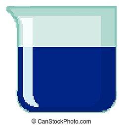 chemische , blaues, gefüllt, trinkbecher, hintergrund, freigestellt