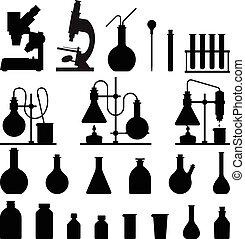 Chemische Glaswaren-Icons eingestellt.