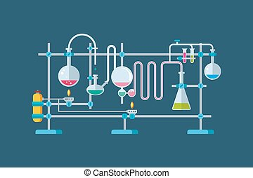 Chemische Laborgeräte mit einer Reihe von Flachs und Bechern verschiedene Formen.