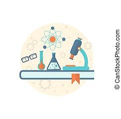 Chemische Technik Hintergrund mit flachem Symbol von Objekten.