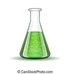 Chemisches Labor durchsichtiger Flachs mit grüner Flüssigkeit