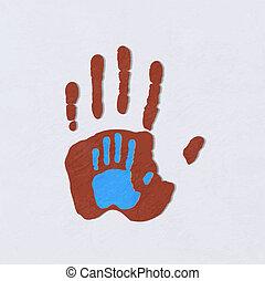 child., über, erwachsener, hands., portion, greeting., vektor, sorgfalt, illustration.