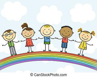 children., illustration., vektor