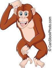 Chimpanzeee Cartoon Denken.