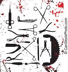 chirurgie, werkzeuge, blutig