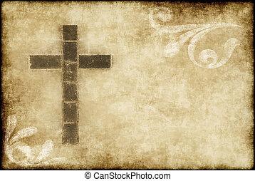 christ, kreuz, pergament