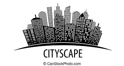 cityscape, vektor, white., illustration.