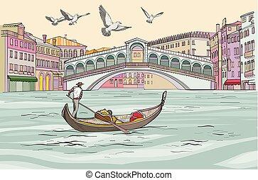 cityscape, venecia, großartig, gondel, canal., ansicht.