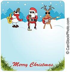 claus, schneemann, glückwünsche, spiele, card., guitar., hirsch, wahlmöglichkeit, saxophon, santa, weihnachten