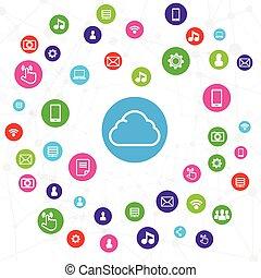 Cloud Computer-Verbindung, Netzwerk-System-Konzept auf weißem Hintergrund vektorgrafik.