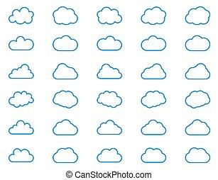 Cloud Icon Set. Vector