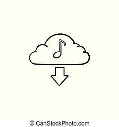 Cloud-Musik-Konzept hand gezeichnete Umriss-Doodle-Icon.