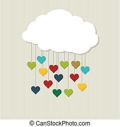 cloud., vektor, liebe