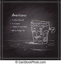 Coctail americano auf dem schwarzen Brett