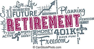 collage, pensionierung, planung, wort