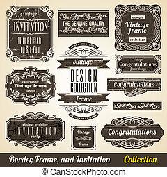 collection., rahmen, calligraphic, einladung, ecke, element, umrandungen