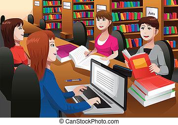 Collegestudenten, die in einer Bibliothek studieren