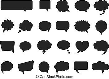 comics, silhouetten, vektor, blasen, denken, talk