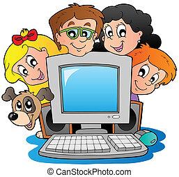 Computer mit Cartoon-Kindern und Hund