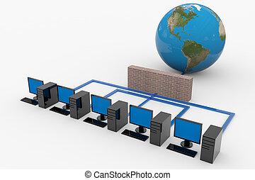 Computernetzwerk mit Server und Firewall