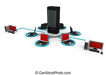 Computernetzwerk und Internetkommunikationskonzept.